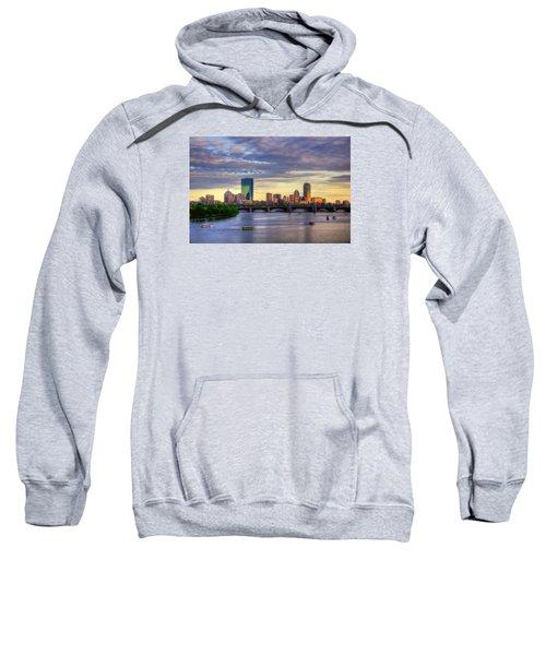 Boston Skyline Sunset Over Back Bay Sweatshirt by Joann Vitali