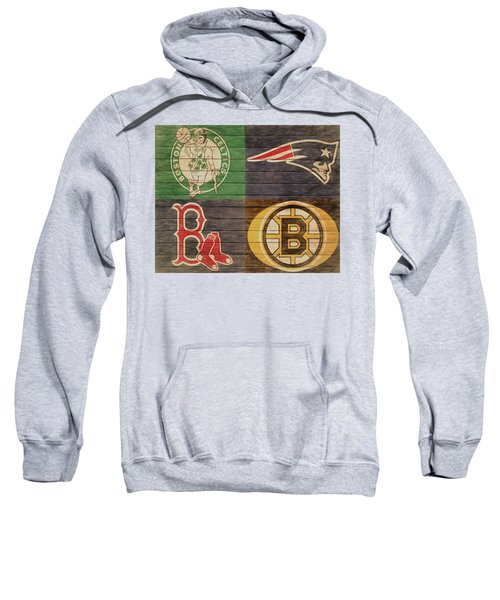 Sweatshirt featuring the mixed media Boston Sports Teams Barn Door by Dan Sproul