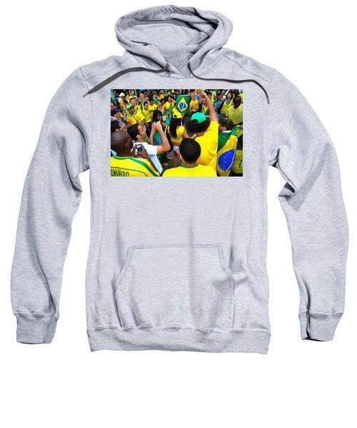 Brazil Fans Celebrate As The Girls Dance. Sweatshirt