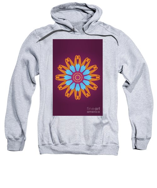 Bright Purple Back And Abstract Orange And Blue Star Sweatshirt