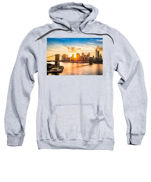 Brooklyn Bridge And The Lower Manhattan Skyline At Sunset Sweatshirt