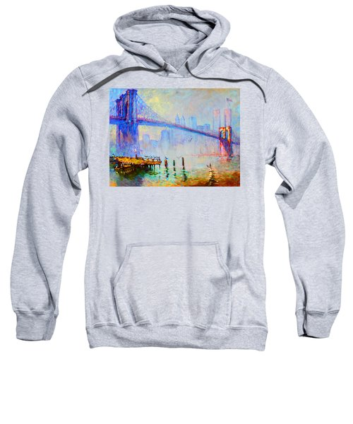 Brooklyn Bridge In A Foggy Morning Sweatshirt by Ylli Haruni
