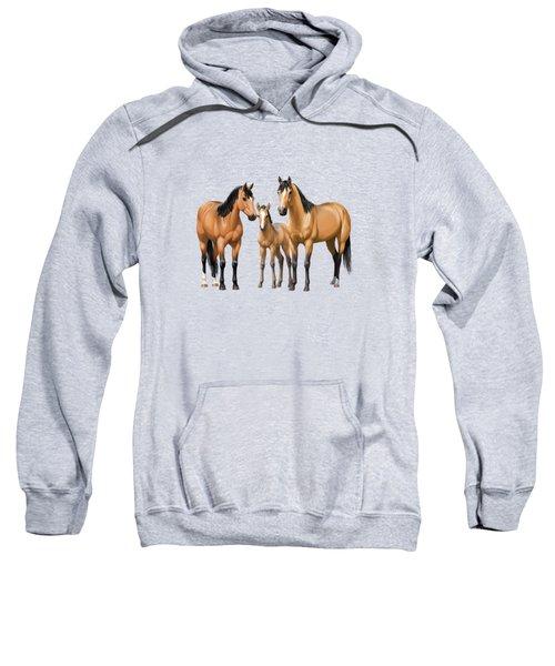 Buckskin Horses In Winter Pasture Sweatshirt