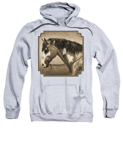 Buckskin War Horse In Sepia Sweatshirt by Crista Forest