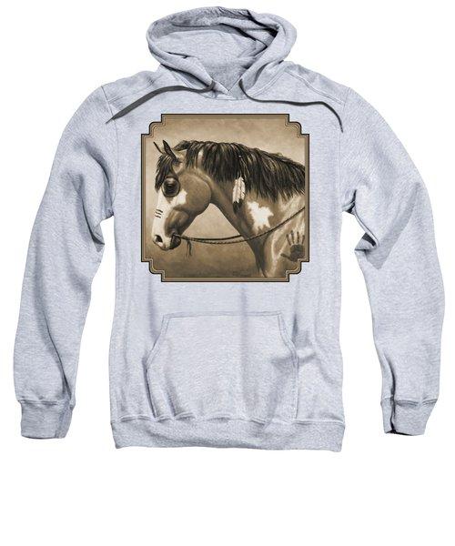 Buckskin War Horse In Sepia Sweatshirt