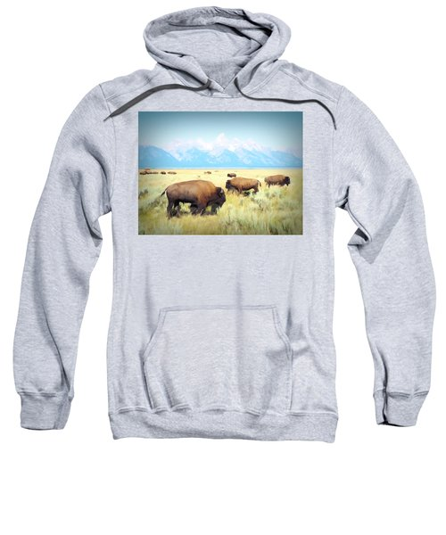 Buffalo Roam, Smokey Grand Tetons, Wyoming Sweatshirt