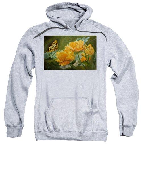 Butterfly Among Yellow Flowers Sweatshirt
