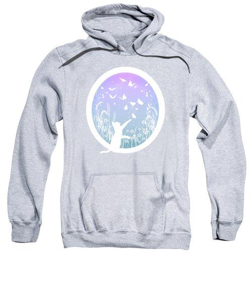 Butterfly Chasing Garden Cat Sweatshirt