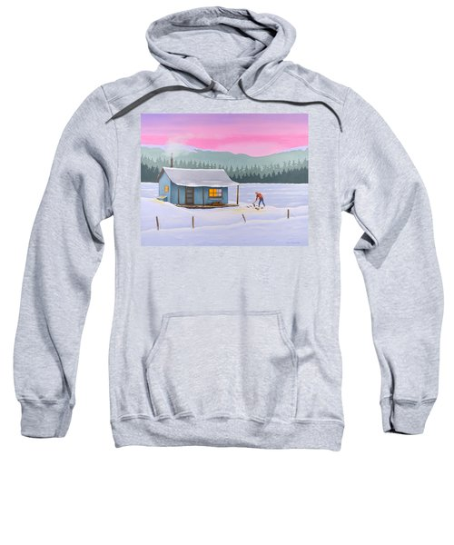 Cabin On A Frozen Lake Sweatshirt