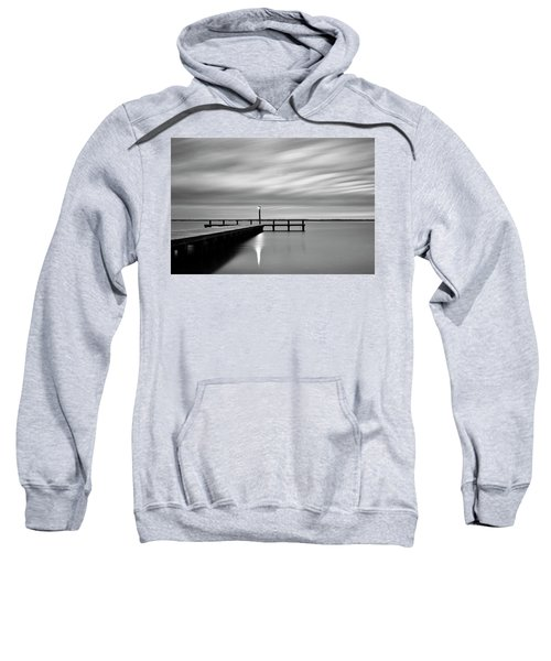 Calm Barnegat Bay New Jersey Black And White Sweatshirt