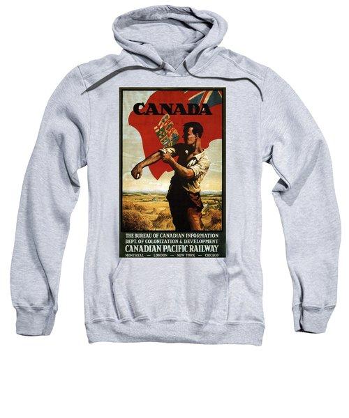 Canada - Canadian Pacific Railway - Flag - Retro Travel Poster - Vintage Poster Sweatshirt