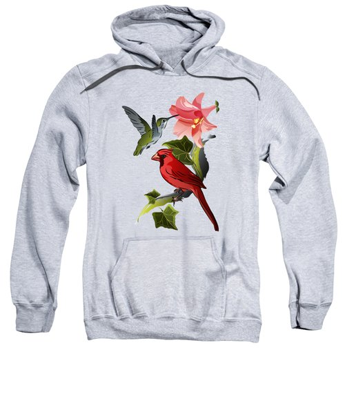 Cardinal On Ivy Branch With Hummingbird And Pink Lily Sweatshirt