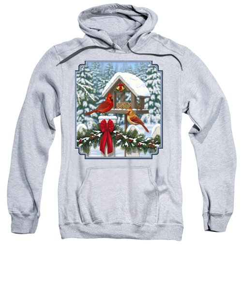 Cardinals Christmas Feast Sweatshirt by Crista Forest