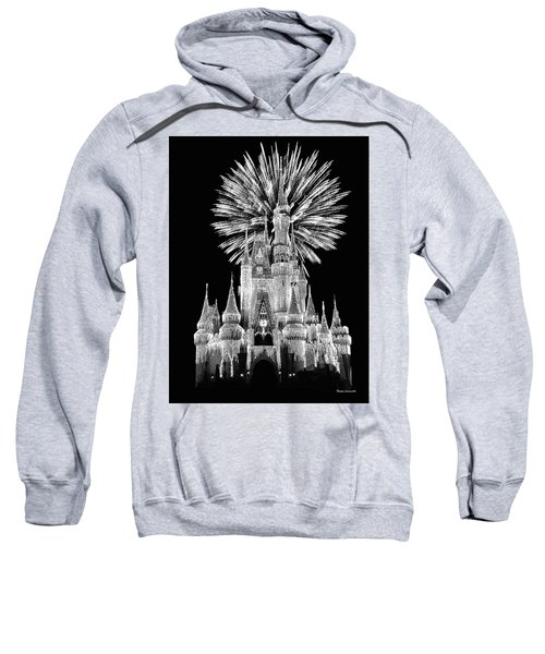 Castle With Fireworks In Black And White Walt Disney World Mp Sweatshirt by Thomas Woolworth
