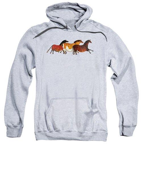 Cave Horses In Beige Sweatshirt