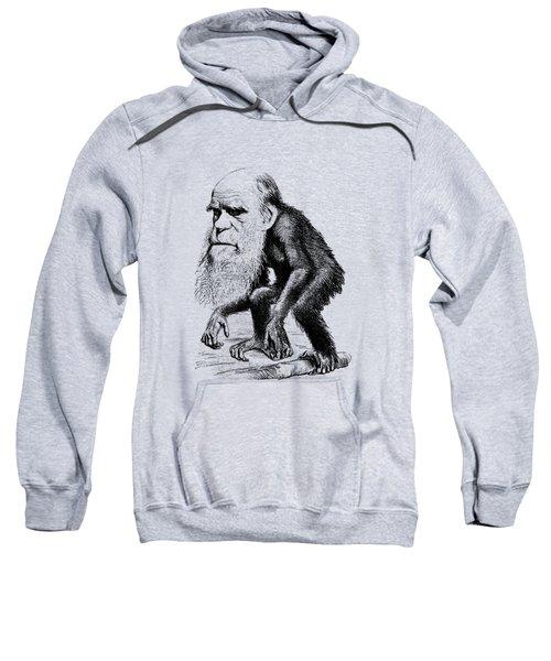 Charles Darwin As An Ape Cartoon Sweatshirt