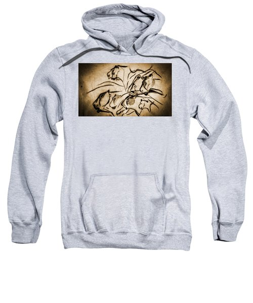 Chauvet Cave Lions Burned Leather Sweatshirt