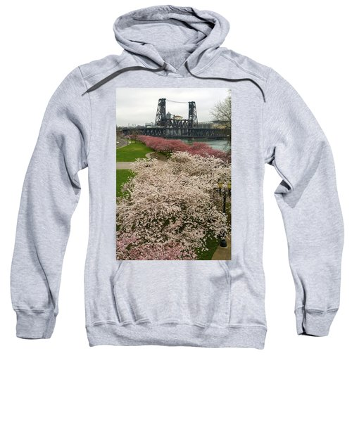 Cherry Blossoms Trees Along Portland Waterfront Sweatshirt
