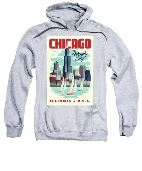 Chicago Retro Travel Poster Sweatshirt by Jim Zahniser