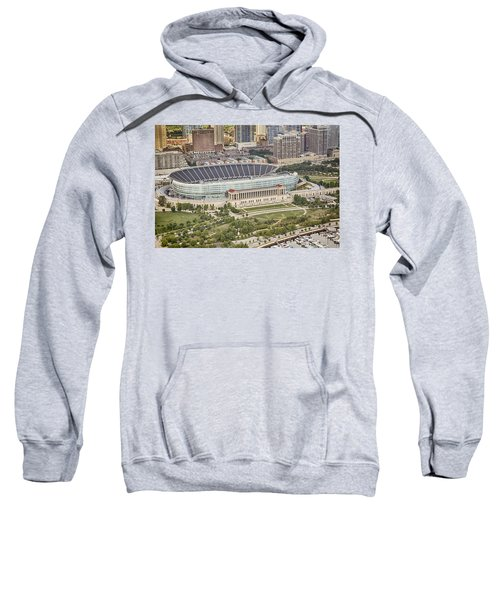 Sweatshirt featuring the photograph Chicago's Soldier Field Aerial by Adam Romanowicz