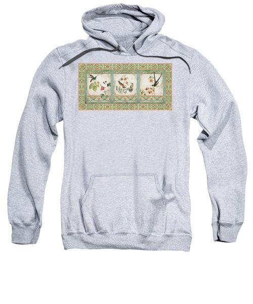 Triptych - Chinoiserie Vintage Hummingbirds N Flowers Sweatshirt