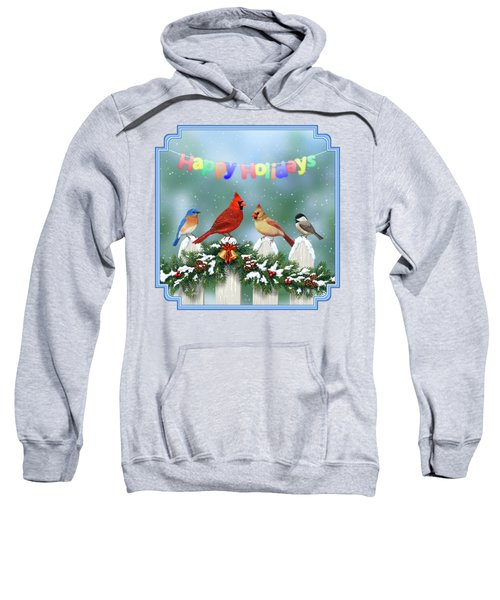 Christmas Birds And Garland Sweatshirt by Crista Forest