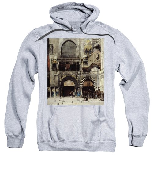 Circassian Cavalry Awaiting Their Commanding Officer At The Door Of A Byzantine Monument Sweatshirt
