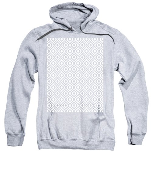 Circle And Oval Ikat In White T09-p0100 Sweatshirt