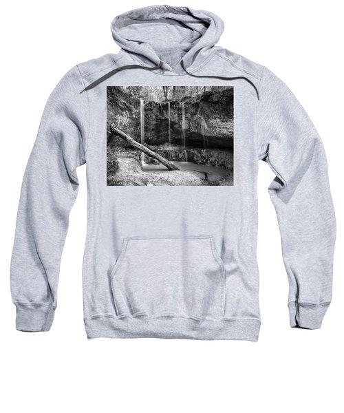Clark Creek Nature Area Waterfall No. 2 In Black And White Sweatshirt