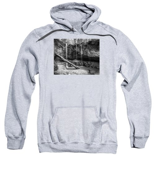 Clark Creek Nature Area Waterfall No. 2 In Black And White Sweatshirt