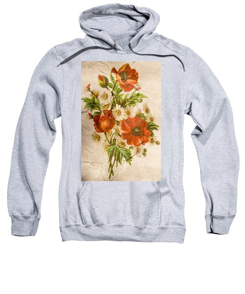 Classic Vintage Shabby Chic Rustic Poppy Bouquet Sweatshirt