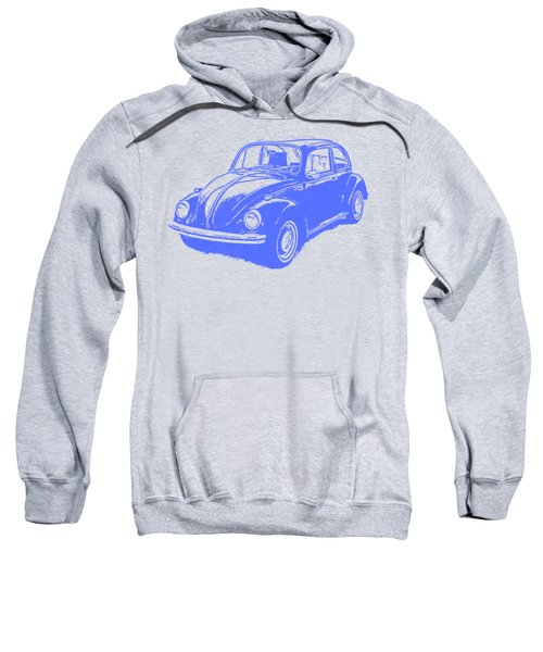 Classic Vw Beetle Tee Blue Ink Sweatshirt by Edward Fielding