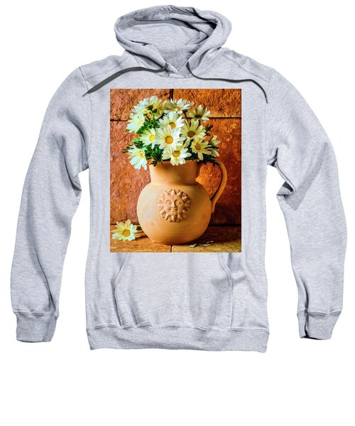 Clay Pitcher With Daises Sweatshirt