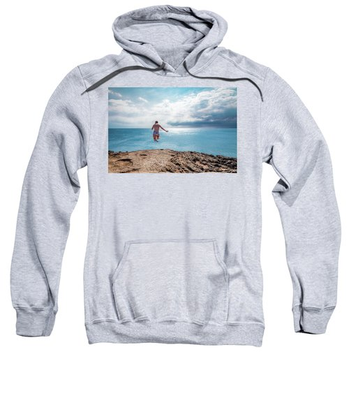 Sweatshirt featuring the photograph Cliff Jumping by Break The Silhouette