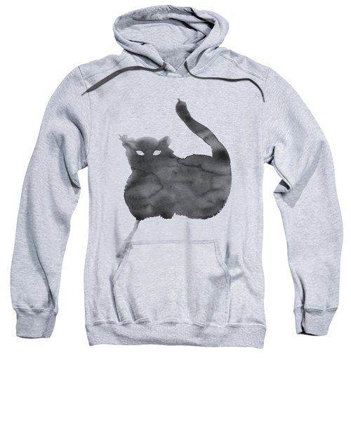 Sweatshirt featuring the painting Cloudy Cat by Marc Philippe Joly