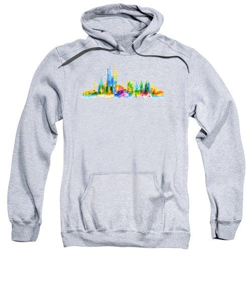 Color Barcelona Skyline 01 Sweatshirt by Aloke Creative Store