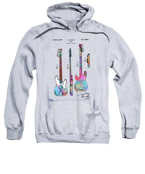 Colorful 1953 Fender Bass Guitar Patent Artwork Sweatshirt