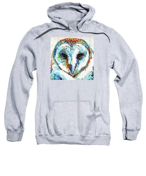 Colorful Barn Owl Art - Sharon Cummings Sweatshirt