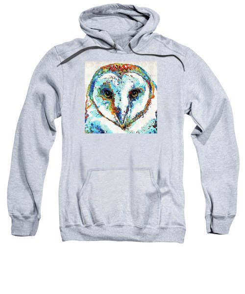 Colorful Barn Owl Art - Sharon Cummings Sweatshirt