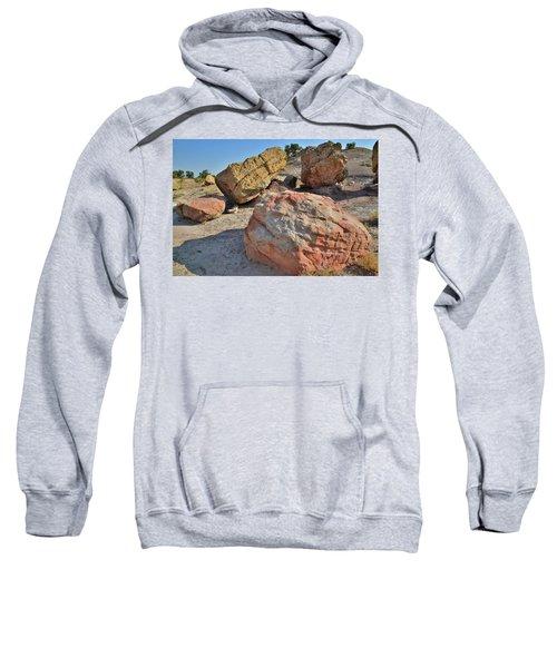 Colorful Boulders In The Bentonite Site On Little Park Road Sweatshirt