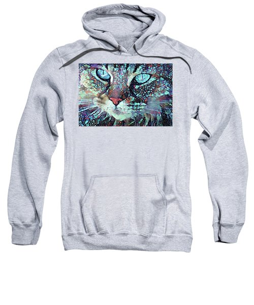 Colorful Flower Cat Art - A Cat Called Blue Sweatshirt