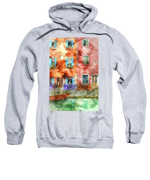 Colorful Houses In Burano Island, Venice Sweatshirt