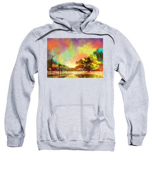 Sweatshirt featuring the painting Colorful Natural by Tithi Luadthong