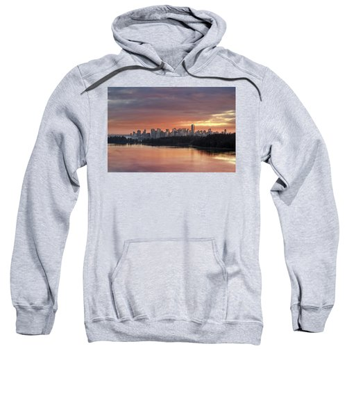 Colorful Sunset Over Vancouver Bc Downtown Skyline Sweatshirt