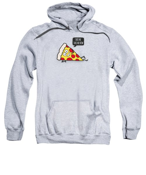 Cool And Trendy Pizza Pattern In Super Acid Green   Turquoise   Blue Sweatshirt