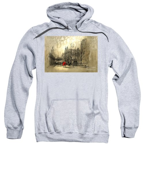 Sweatshirt featuring the painting Couple In City by Tithi Luadthong