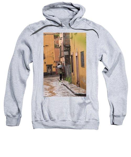 Couple Walking In The Rain Through Old San Miguel Mexico Sweatshirt
