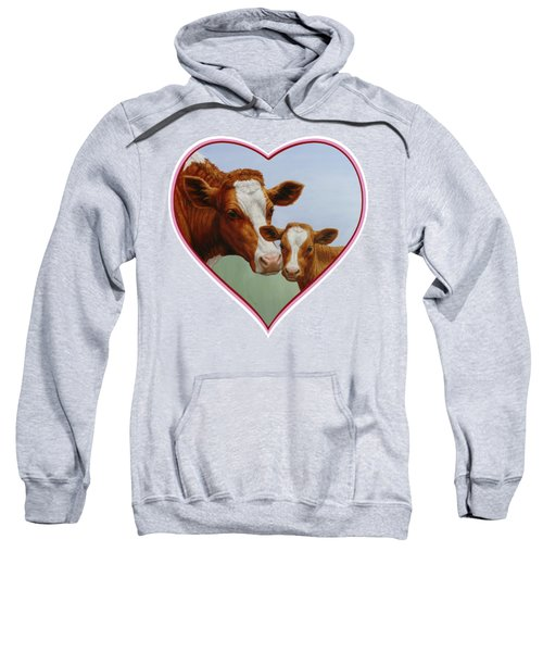 Cow And Calf Pink Heart Sweatshirt by Crista Forest
