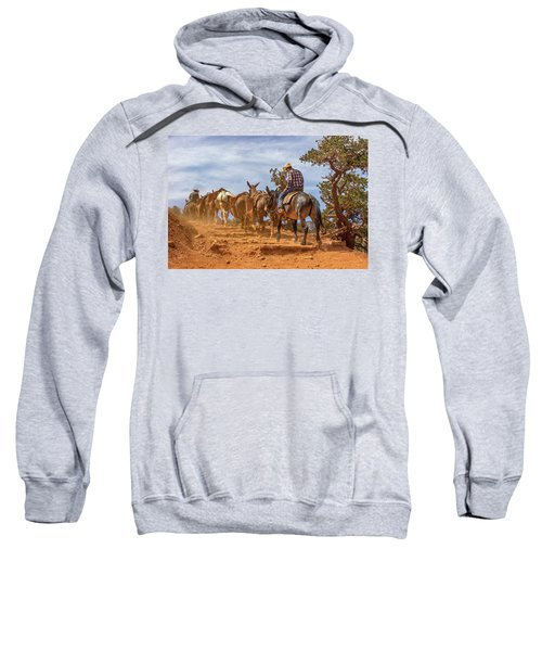 Cowboy And Mule Train On The South Kaibab Trail In The Grand Canyon Sweatshirt