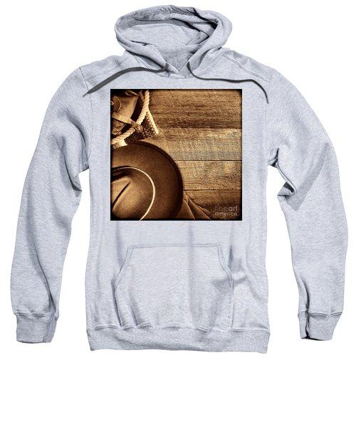 Cowboy Hat And Gear On Wood Sweatshirt